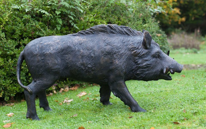 bronze boar garden statue
