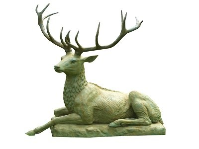 Bronze Stag lying on Slab