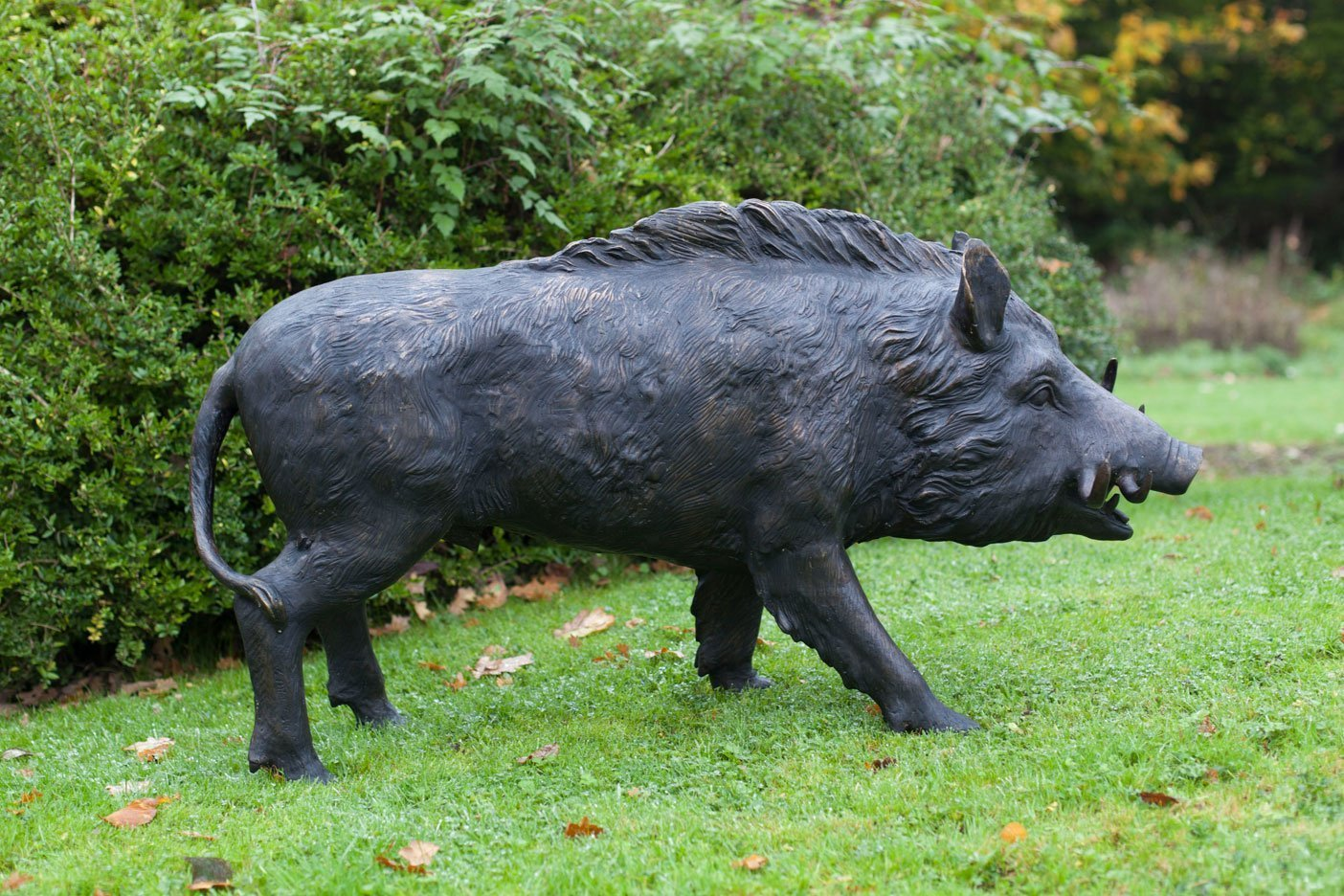 Bronze Boar Garden Statue  Life-size wild boar garden ornament cast in  bronze  View now