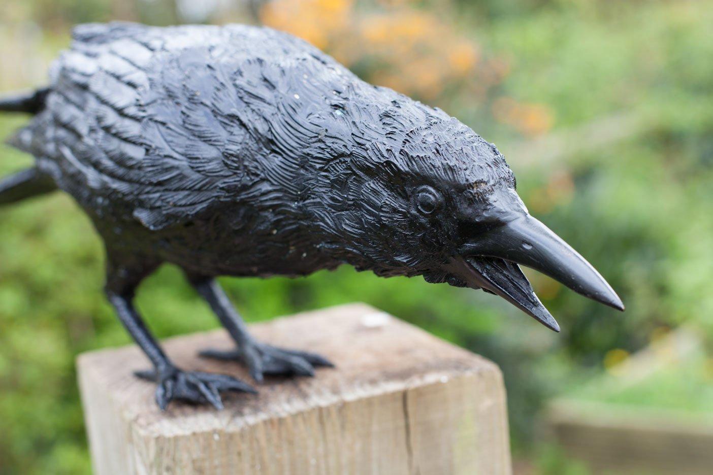 bronze crow pecking on fence