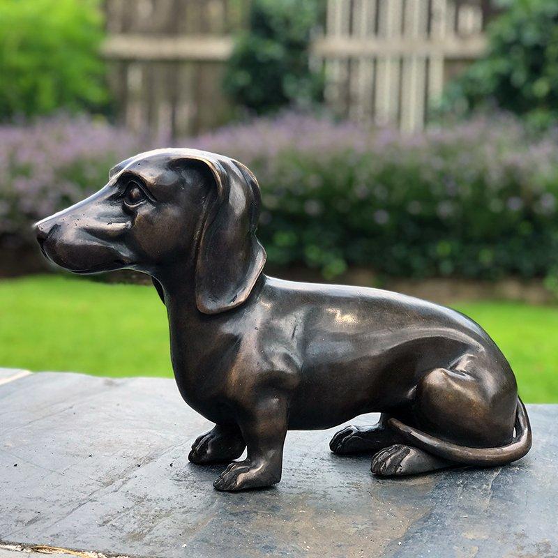 Dachshund statue cast in bronze
